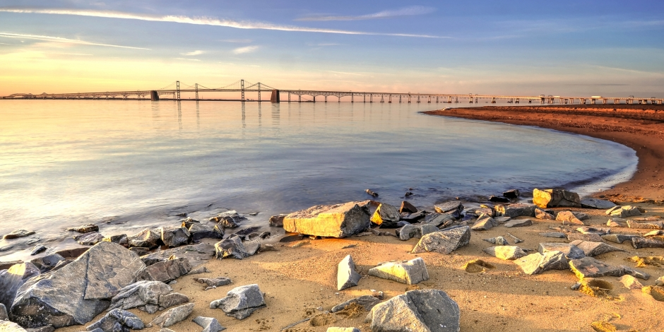 Beach Overlooking Chesapeake Bay Bridge